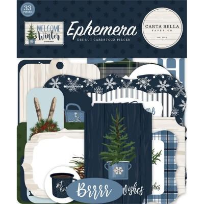 PRÉCOMMANDE- Carta Bella - Éphéméra «Welcome Wintert Icons» ensemble 33pcs