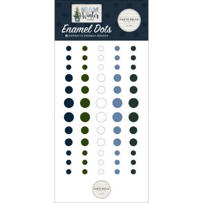 PRÉCOMMANDE- Carta Bella - enamel dots autocollant «Welcome Winter» 60 pièces
