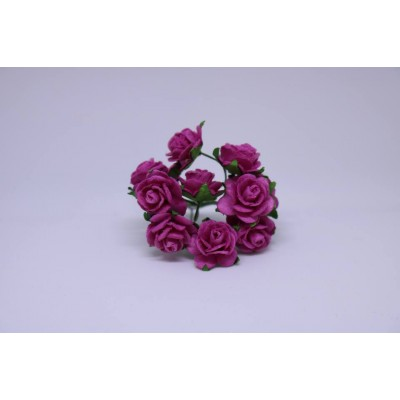 WOC - 10  Fuchsia Pink Mulberry  open roses -15mm-