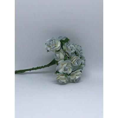 WOC -10 fleurs 2 Tone antique Blue Mulberry  open roses (15 mm)