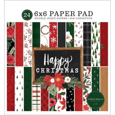 """Carta Bella - Bloc de  papier double face «Happy Christmas»  6"""" X 6""""   24 feuilles"""
