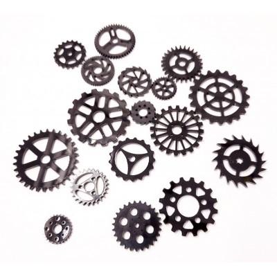 Creative Embellishments - Acrylique «Black Gears» 16 pcs