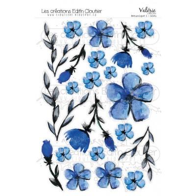 Créations ÉC - Dessins Cartonnés «Botanique 1-Bleu»