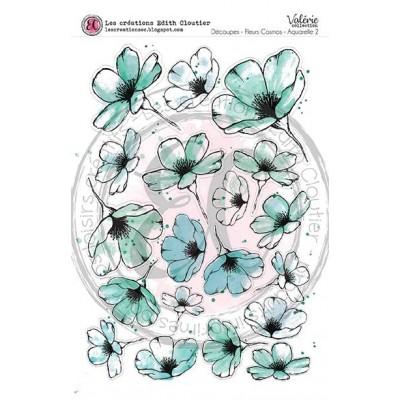 Créations ÉC - Dessins Cartonnés «Fleurs Cosmos-Aquarelle 2»