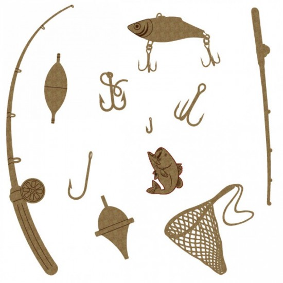 "Creative Embellishments - Chipboard ""Fishing set"""