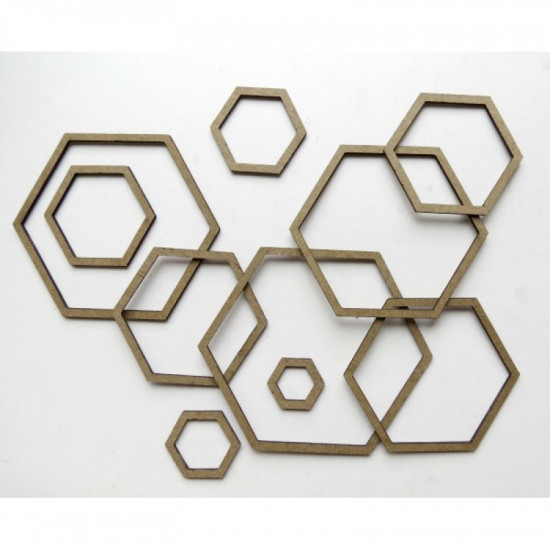 "Creative Embellishments - Chipboard ""Nested shapes Hexagons"""