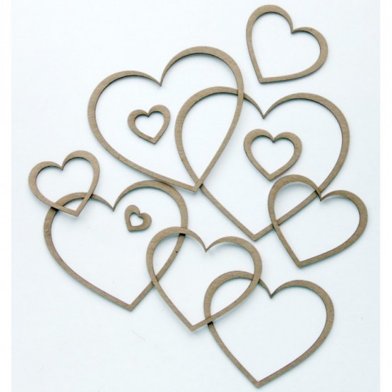 "Creative Embellishments - Chipboard ""Nested Shapes Hearts"""