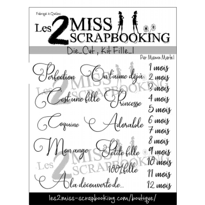 Les 2 Miss scrapbooking - Éphéméra «Kit Fille 1»