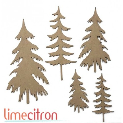 Lime Citron - Chipboard «kit 5 sapins»