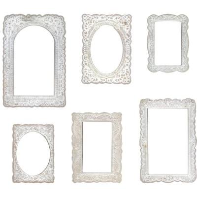 Tim Holtz - Chipboard  et Éphéméras «Lace Baseboard Frames» 6 pc