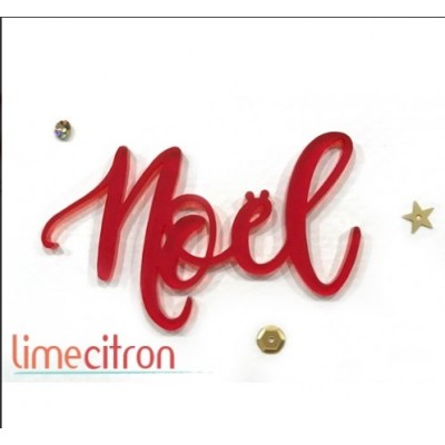 Lime Citron - «Noël» mot en acrylique rouge