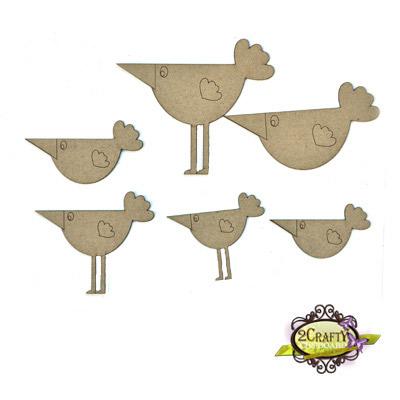 2 Crafty - Chipboard «Beaky Birds» 6 pcs