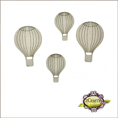 2 Crafty - Chipboard «Mini Hot Air Balloons» 4 pcs