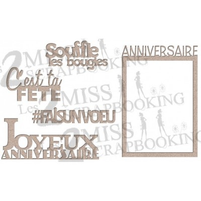 "Les 2 Miss scrapbooking - Chipboard ""Kit de fête 2"""
