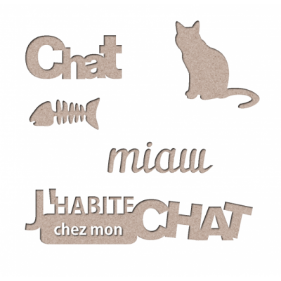 "Les 2 Miss scrapbooking - Chipboard ""Kit Chat"""