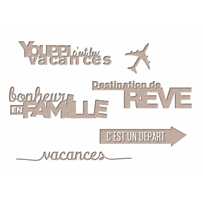 "Les 2 Miss scrapbooking - Chipboard «Kit vacances 1""»"