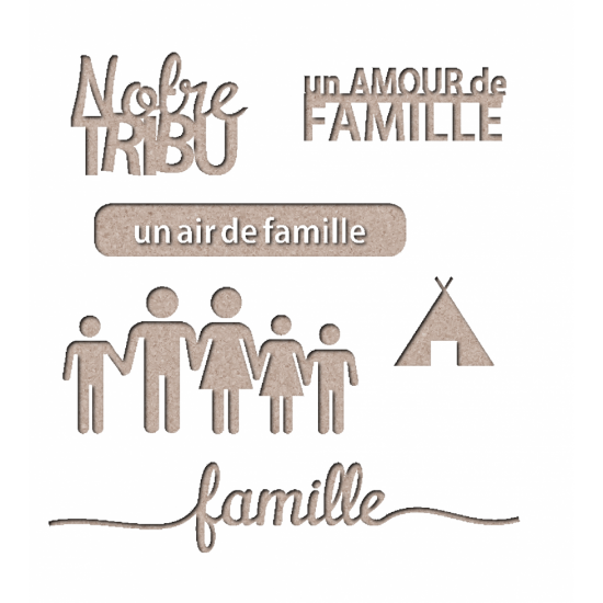 "Les 2 Miss scrapbooking - Chipboard ""Kit famille 2"""