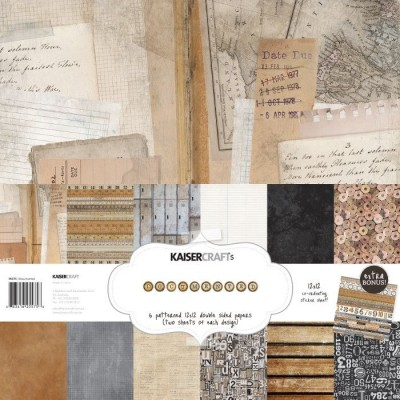 "Kaisercraft:  Collection de papier ""Documented"" 12"" X 12"""