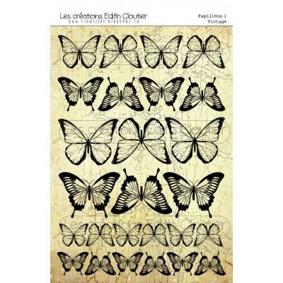 Créations ÉC- Dessins Cartonnés «Papillons 1 - Vintage»
