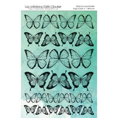 """Créations ÉC- Dessins Cartonnés """"Papillons 1 - menthe"""""""
