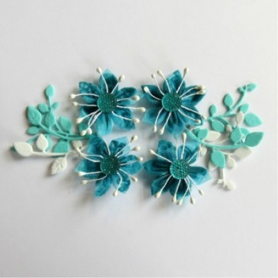 Scrap Fimo - Fleurs collection printemps Aqua 18FCPA