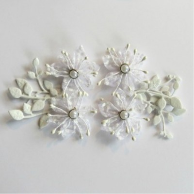 Scrap Fimo - Fleurs collection printemps Blanc 18FCPW