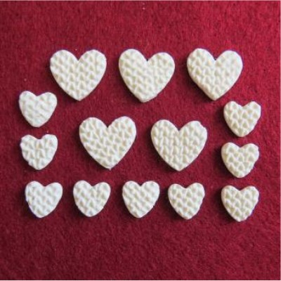 Scrap Fimo - Collection rouge & blanc - fimo coeur blanc tricot -FCBT
