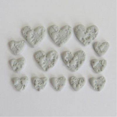 Scrap Fimo - Coeur Fimo gris pâle Collection Grise - FCGP