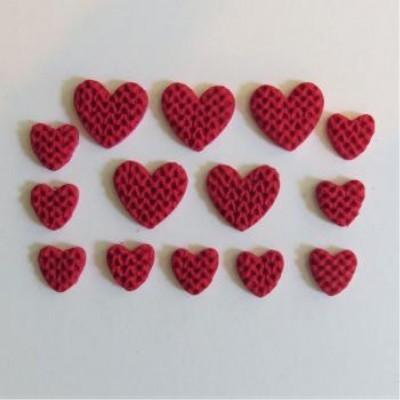 Scrap Fimo - Collection rouge & blanc - fimo coeur rouge tricot -FCRT