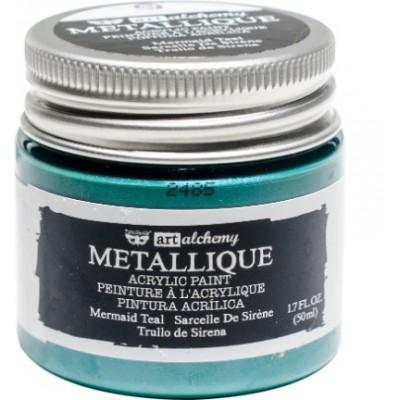 Finnabair Art Alchemy - Peinture acrylique «Métallique» couleur «Mermaid Teal»  1.7 oz