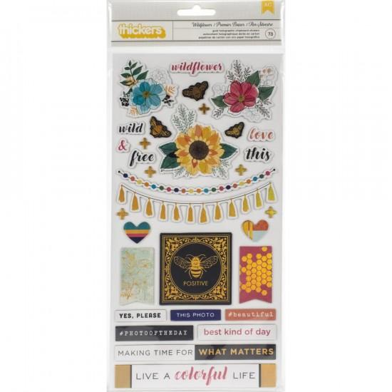 LIQUIDATION-Vicki Boutin - Autocollants Thickers collection «Wildflower and Honey» 75 pièces (Prix indiqué est réduit de 50%)