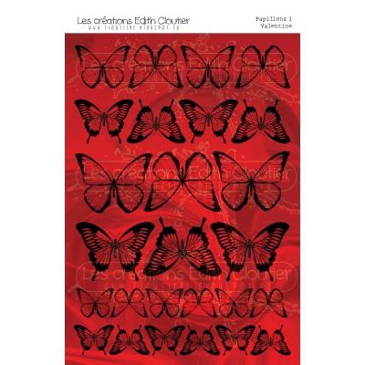 """Créations ÉC- Dessins Cartonnés """"Papillons 1 - Valentine"""""""