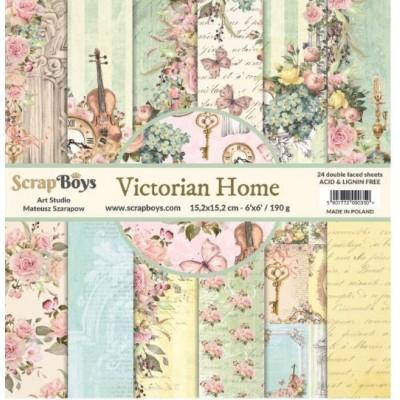 """ScrapBoys - Ensemble de papier «Victorian Home» 6""""X6"""" de 24 feuilles recto-verso"""