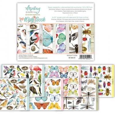 """Mintay - Papier 6"""" X 8""""  collection «Wing Book» 24 pages recto-verso"""